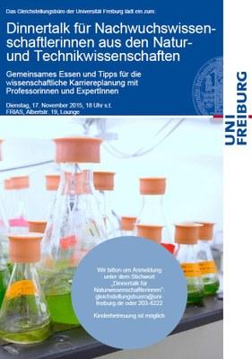 Jetzt anmelden: Dinnertalk für Nachwuchswissenschaftlerinnen aus den Natur- und Technikwissenschaften am 17. November 2015 um 18 Uhr s.t.