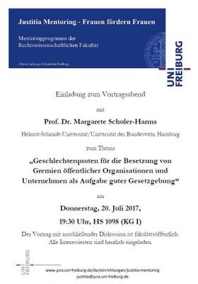 Justitia Mentoring lädt ein: Vortrag und Diskussion mit Prof. Dr. Margarete Schuler-Harms