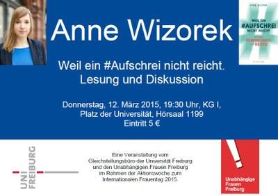 Lesung mit Anne Wizorek am Donnerstag, 12. März 2015, 19:30 Uhr, Platz der Universität, KG I, Hörsaal 1199, Eintritt 5 €