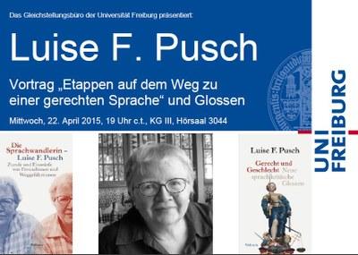 Lesung mit Luise F. Pusch am Mittwoch, 22. April 2015 um 19 Uhr c.t., Hörsaal 3044